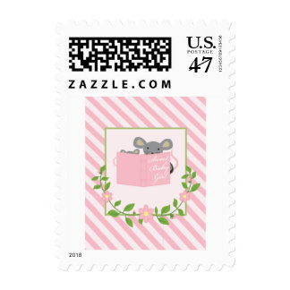 Pink and Green Story Book Baby Girl Postage Stamp