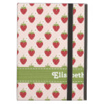 Pink and Green Strawberry iPad Folio Cases