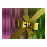 Pink and Green Stripe Gold Bow Greeting Card