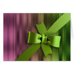 Pink and Green Stripe Green Bow Greeting Card