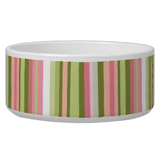 Pink and Green Stripe Pet Bowl in Spring Shades