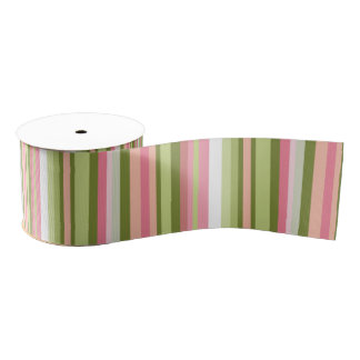 Pink and Green Stripe Ribbon in Pastel Shades