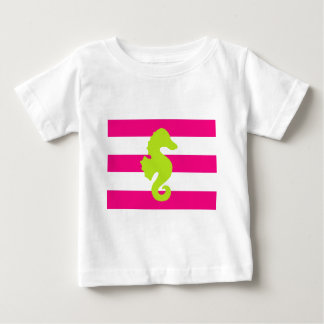 Pink and Green Stripes and Seahorse Baby T-Shirt