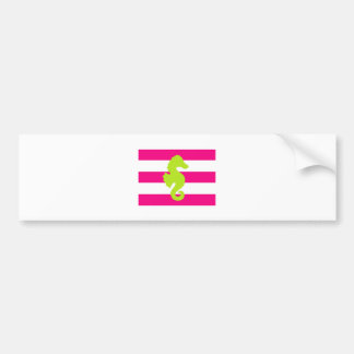 Pink and Green Stripes and Seahorse Car Bumper Sticker