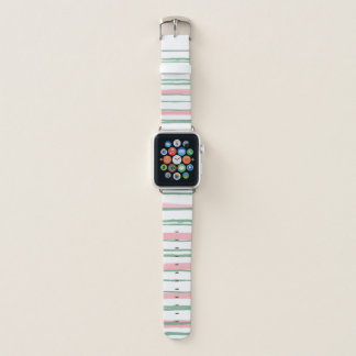 Pink and Green Stripes Apple Watch Band