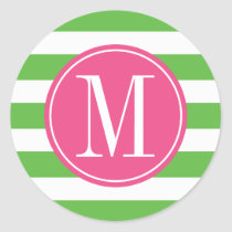 Pink and Green Stripes Custom Monogram Classic Round Sticker