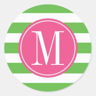 Pink and Green Stripes Custom Monogram Classic Round Sticker