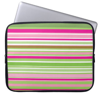 Pink and Green stripes Laptop Computer Sleeve