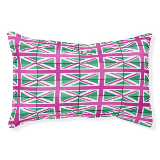 Pink And Green Stylish Union Jack Dog Bed Small Dog Bed
