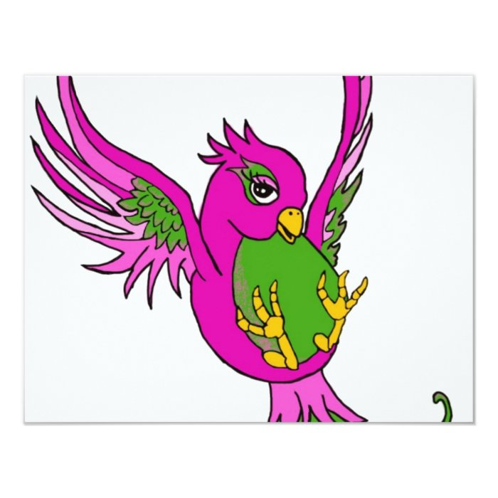 Pink and Green Swallow Card