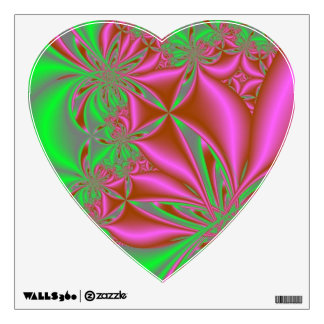 Pink and Green Swirl Heart Decal