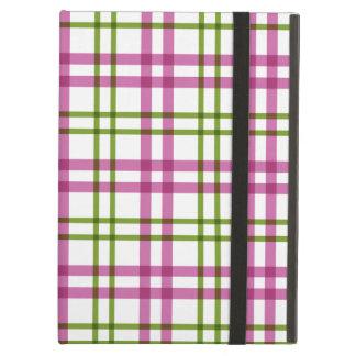 Pink and Green Tartan Pattern iPad Cover