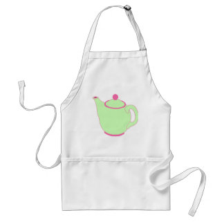 Pink and Green Teapot Adult Apron