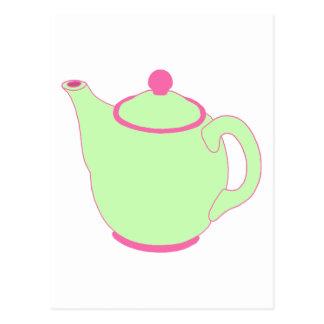 Pink and Green Teapot Postcard