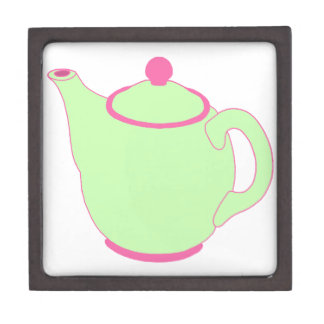 Pink and Green Teapot Premium Jewelry Box