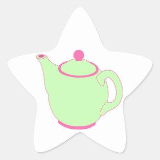 Pink and Green Teapot Star Sticker