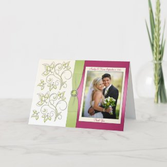 Pink and Green Thank You Card with Photo card