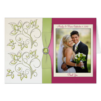 Pink and Green Thank You Card with Photo Cards