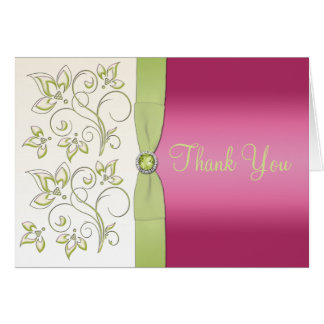 Pink and Green Thank You Note Card Card