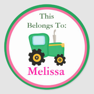 Pink and Green Tractor Back to School Stickers