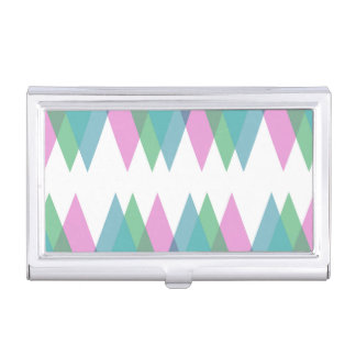 Pink and green triangles business card case