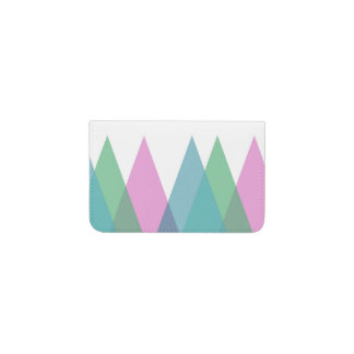 Pink and green triangles business card holder