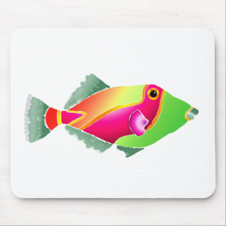 Pink and Green Tropical Fiish Mouse Pad
