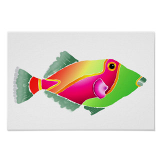 Pink and Green Tropical Fish Poster