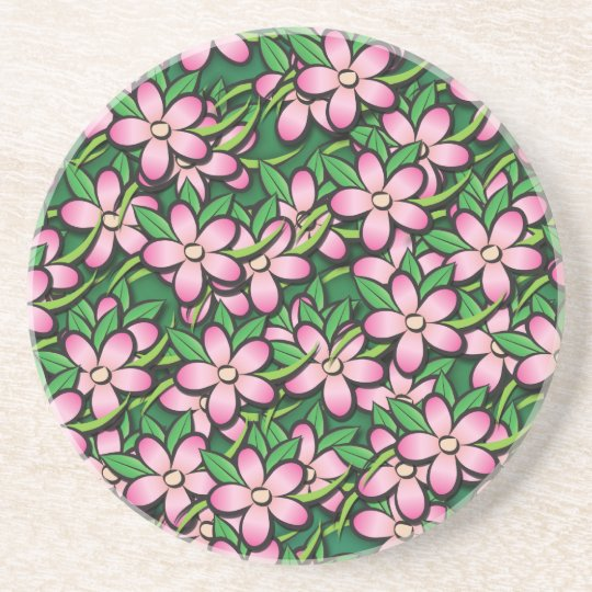 Pink and Green Tropical Flower Pattern Coaster