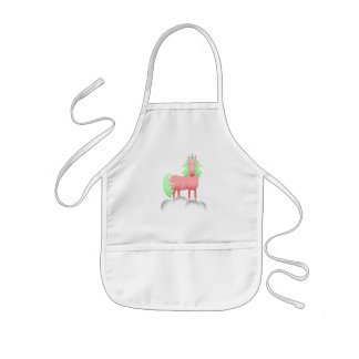 Pink And Green Unicorn On A Cloud Kids' Apron