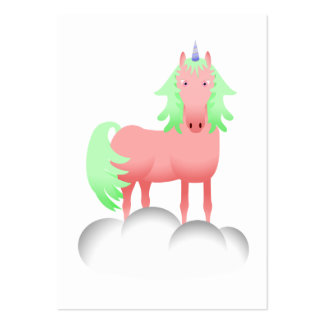 Pink And Green Unicorn On A Cloud Business Card Templates