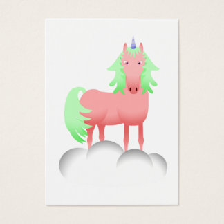 Pink And Green Unicorn On A Cloud Business Card