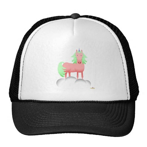 Pink And Green Unicorn On A Cloud Hats