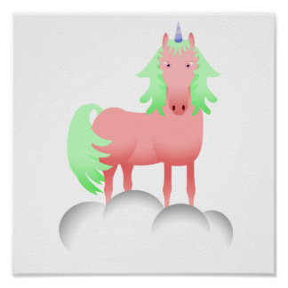 Pink And Green Unicorn On A Cloud Poster