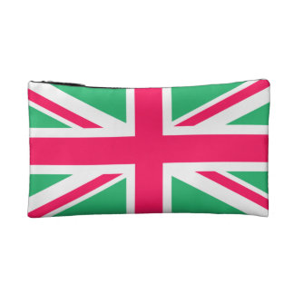 Pink and Green Union Jack Flag Makeup Bag