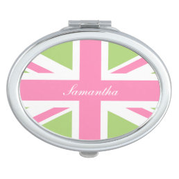Pink and Green Union Jack Flag Personalized Compact Mirror