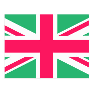 Pink and Green Union Jack Flag Postcard