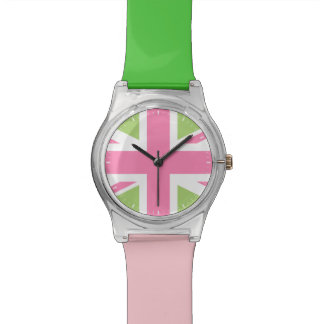 Pink and Green Union Jack Wristwatch
