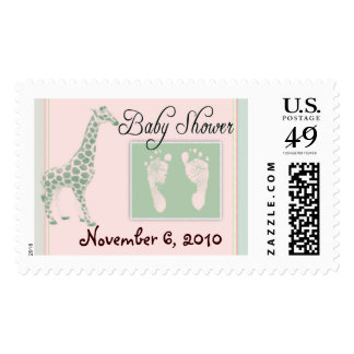 Pink and green USPS baby shower stamps