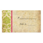 Pink and Green Vintage Damask Wedding Placecards Business Card Template