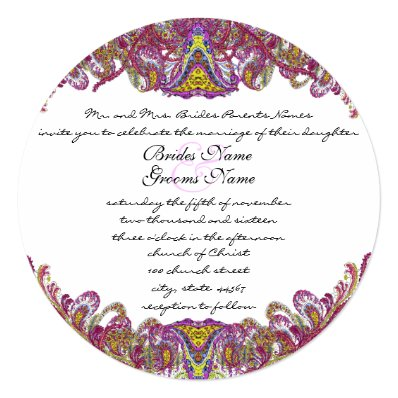 Pink and Green Vintage Paisley Wedding Invitation