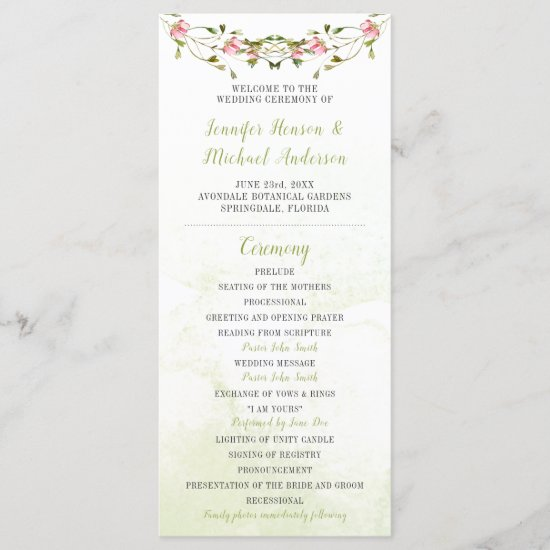 Pink and Green Watercolor Flowers Wedding Program