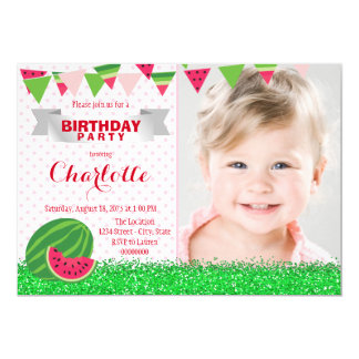 Pink and Green Watermelon Birthday Party Card