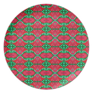 Pink and Green Watermelon Hexagon Pattern Melamine Plate