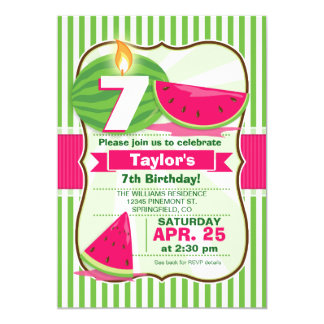 Pink and Green Watermelon, Kid's Birthday Party 5x7 Paper Invitation Card