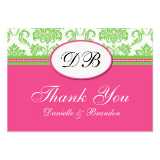 Pink and Green Wedding Thank You Large Business Cards (Pack Of 100)