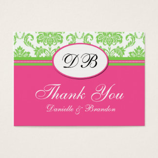 Pink and Green Wedding Thank You Business Card