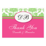 Pink and Green Wedding Thank You Business Cards
