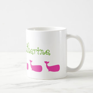 Pink and Green Whales Personalized Coffee Mug