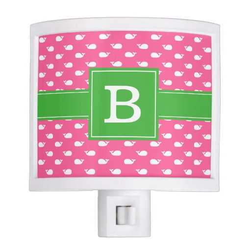 Pink and Green Whimsical Whales Pattern Monogram Night Light